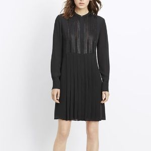 Vince Pleated Dress with Lattice Lace Bib